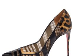 Christian Louboutin Black/Brown Animal Print Patent Leather and Mesh Bandy Pointed Toe Pumps Size 40