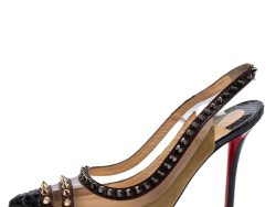Christian Louboutin Multicolor  Leather And PVC Studded Slingback Pumps Size 35