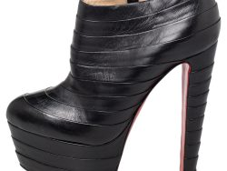 Christian Louboutin Black Leather Amor Ankle Boots Size 38.5