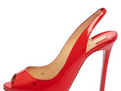 Christian Louboutin Red Patent Leather Lady Peep Slingback  Pumps Size 41