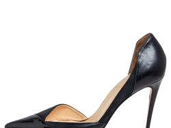 Christian Louboutin Black Suede And Patent Leather Cutout Pointed Toe  Pumps Size 40