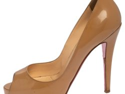 Christian Louboutin Beige Patent Leather Very Prive Peep Toe Pumps Size 35.5
