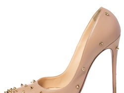 Christian Louboutin Beige Leather Degraspike Pointed Toe Pumps Size 40.5