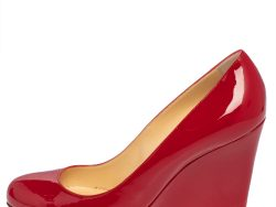 Christian Louboutin Red Patent Leather Ron Ron Zeppa Wedge Pumps Size 40