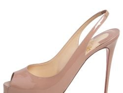 Christian Louboutin Beige Patent Leather Private Number Slingback Sandals Size 40