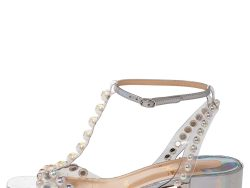 Christian Louboutin Metallic Silver Patent Leather And PVC Faridaravie Sandals Size 37