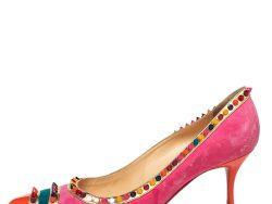 Christian Louboutin Multicolor Suede Malabar Hill Spiked Pointed Toe Pumps Size 41