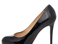 Christian Louboutin Black Patent Leather New Simple Round Toe Pumps Size 38