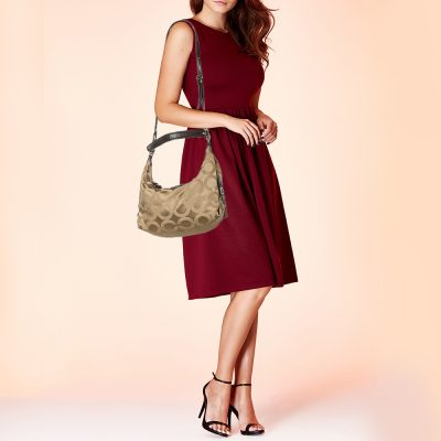 Coach Beige/Brown Canvas And Leather Madison Op Art Hailey Hobo