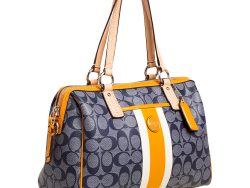 Patent and Leather Heritage Stripe Satchel