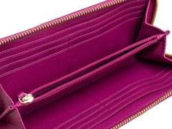 Coach Brown/Fuchsia Signature Coated Canvas and Leather Accordion Zip Around Wallet