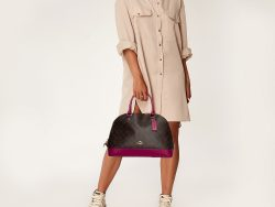 Coach Beige/Magenta Signature Coated Canvas and Leather Sierra Satchel