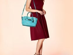 Coach Blue Leather Swagger 27 Carryall Satchel