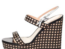 Dior Tricolor Cannage Leather Wedge Platform Open Toe Sandals Size 40