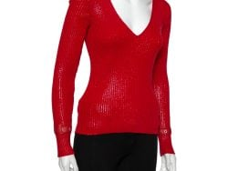 Christian Dior Vintage Red Textured Rib Knit Sweater M