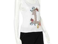 Christian Dior White Cotton Logo Printed Floral Embroidered Tank Top L