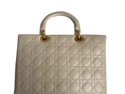 Dior Beige Leather Large Lady Dior Tote Bag