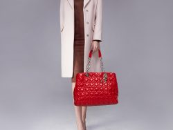 Dior Red Cannage Leather Soft Lady Dior Shopper Tote
