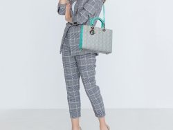 Dior Grey/Turquoise Cannage Leather Large Lady Dior Tote