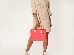 Dior Coral Red Ostrich Large Lady Dior Tote