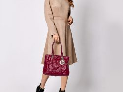 Dior Dark Red Cannage Coated Canvas Soft Lady Dior Tote