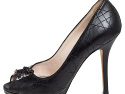 Dior Black Cannage Leather Tie Knot Peep Toe Pumps Size 37
