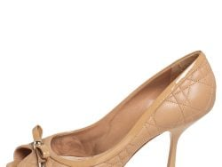 Dior Beige Cannage Leather Bow Detail Peep Toe Pumps Size 39.5