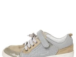 Dior Beige/Grey Mesh And Patent Leather Low Top Sneakers Size 34
