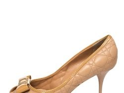 Dior Beige Leather Cannage Bow Peep Toe Pumps Size 41