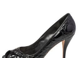 Dior Black Patent Leather Cannage Peep Toe Bow Pumps Size 41