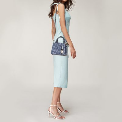 Dkny Blue Signature Canvas and Leather Shoulder Bag