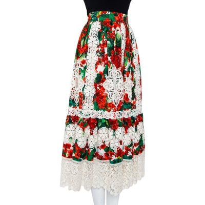 Dolce & Gabbana Red Floral Printed Cotton & Lace Paneled Midi Skirt S