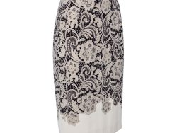 Dolce & Gabbana Cream Lace Printed Crepe Pencil Skirt S