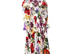 Dolce & Gabbana White Floral Printed Cotton Ruffle Detail Tiered Off Shoulder Midi Dress L