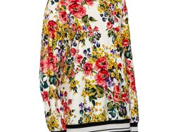 Dolce & Gabbana White Floral Printed Cotton Contrast Collar Detail Jumper S