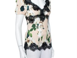 Dolce & Gabbana Pink Floral Printed Crepe & Lace Trim Blouse XS