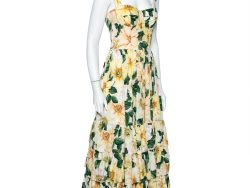 Dolce & Gabbana Light Pink Camelia Printed Cotton Bustier Detail Tiered Midi Dress S