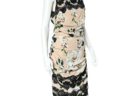 Dolce & Gabbana Beige Floral Printed Crepe & Lace Trim Ruched Sleeveless Dress L