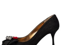 Dolce & Gabbana Black Suede And Fabric Embellished Bow Pumps Size 36