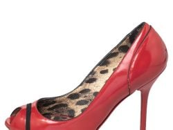 Dolce & Gabbana Red Leather Peep Toe Pumps Size 37.5