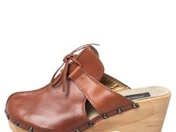 Dolce & Gabbana Tan Leather Bow Wooden Clogs Size 39