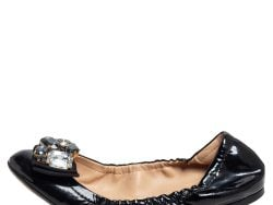 Dolce and Gabbana Black Patent Leather Crystal Embellished Bow Scrunch Ballet Flats Size 38.5