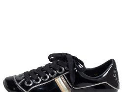 Dolce & Gabbana Black Patent Leather Striped Sneakers Size 35