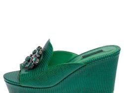 Dolce & Gabbana Green Lizard Embossed Leather Wedge Sandals Size 38
