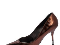 Dolce and Gabbana Metallic Bronze Python Embossed Leather Pumps Size 39
