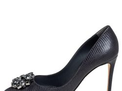 Dolce & Gabbana Anthracite Lizard Embossed Leather Bellucci Crystal Embellished Pumps Size 38