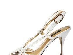 Dolce & Gabbana White Leather Strappy Slingback Sandals Size 40