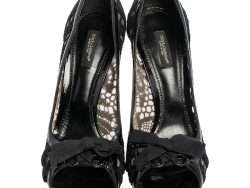 Mesh  and Patent Leather Trim Open Toe Pumps Size 40