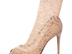 Dolce & Gabbana Salmon Pink Stretch Lace Bette Ankle Booties Size 38