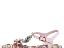 Dolce & Gabbana Multicolor Carretto Con Roses Print Jelly Crystal Embellished Ankle Strap Flat Sandals Size 37